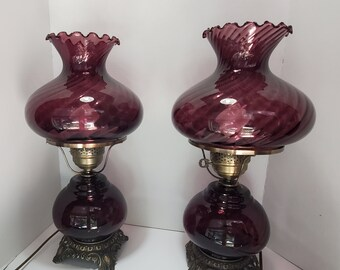 Pair of Vintage Amethyst Swirl Glass Hurricane Style Electric Table Lamps