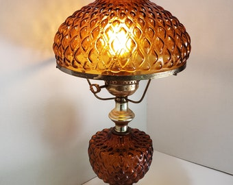 Vintage Brass Electric Hurricane Style Table Lamp With Amber Quilted Glass Shade