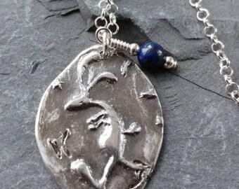 Hare pendant etsy hare pendant handmade in fine silver hare necklace hare jewellery silver bunny lapis lazuli semi precious stone silver hare hare gift aloadofball Gallery