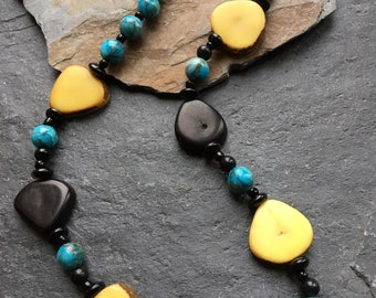 Tagua necklace, Tagua nut slice with agate, blue Jasper, glass and sterling silver, Tagua jewellery, Tagua nut, handmade necklace, unique
