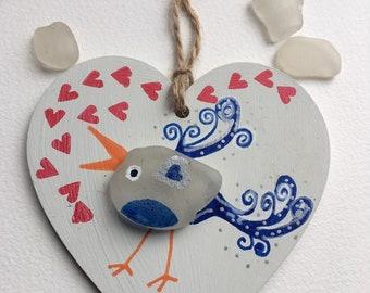 Sea glass bird, love bird, handmade, painted wooden hanging decoration, birds, sea glass gift, friendship, sending love, love hearts