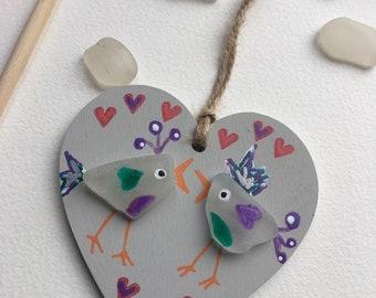 Sea glass birds, love birds handmade, painted wooden hanging decoration, birds, sea glass gift, friendship, sending love, love hearts, mum