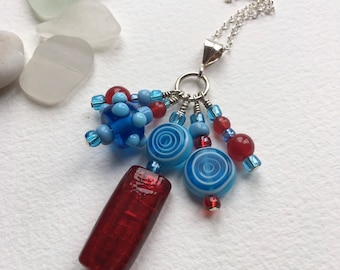 Vibrant glass cluster pendant on sterling silver chain, glass cluster, glass jewellery, red and blue glass pendant, glass pendant, silver