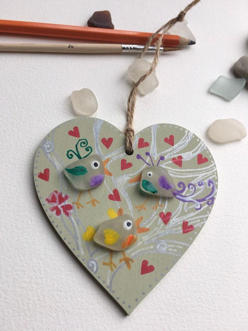Sea glass birds painted wooden hanging decoration Mother\u2019s Day gift sending love birds love hearts love birds friendship handmade
