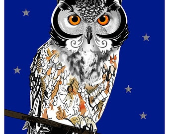 A5 OWL illustration printed on Fine Art paper / Owl illustration print on Fine Art paper
