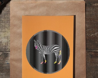 L'illustration zèbre carte postale