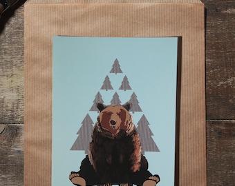 The bear illustration postcard