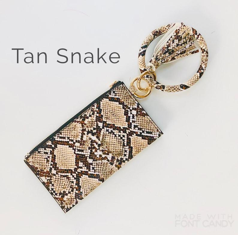 Snakeskin Keychain tassel bangle bracelet with clutch  Tan Snake