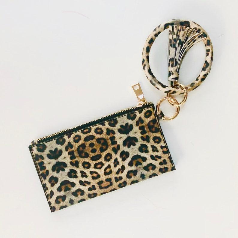 Leopard Keychain tassel bangle bracelet with clutch  Boutique image 0