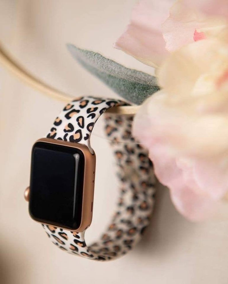 Cheetah Animal Print Leopard print Silicone Apple Watch Band image 0