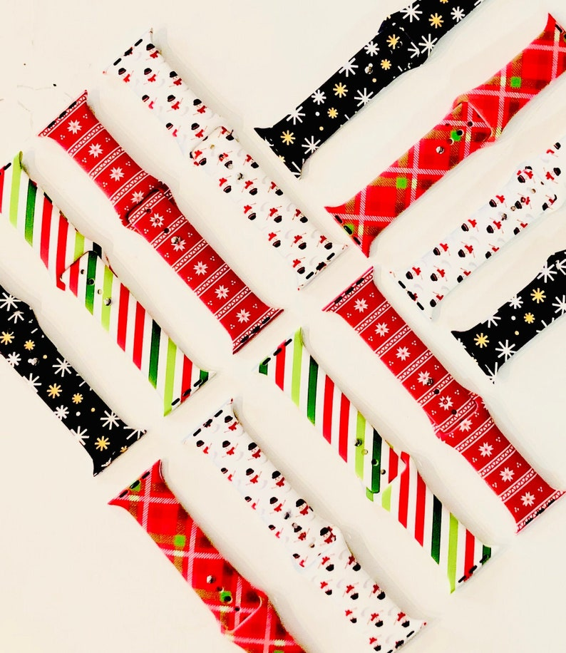 Christmas Holiday Winter Printed Silicone Apple Watch Band image 0