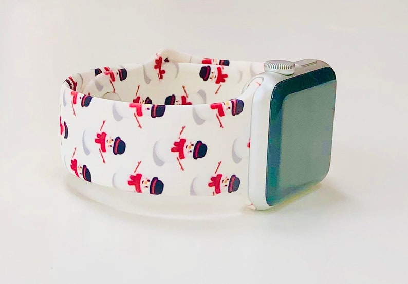 Snowman Printed Silicone Apple Watch Band with Free Shipping image 0