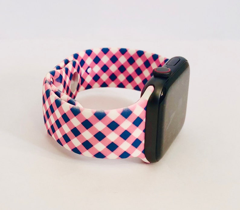 Spring Summer Pattern Silicone Apple Watch Band with Free Pink Navy Plaid