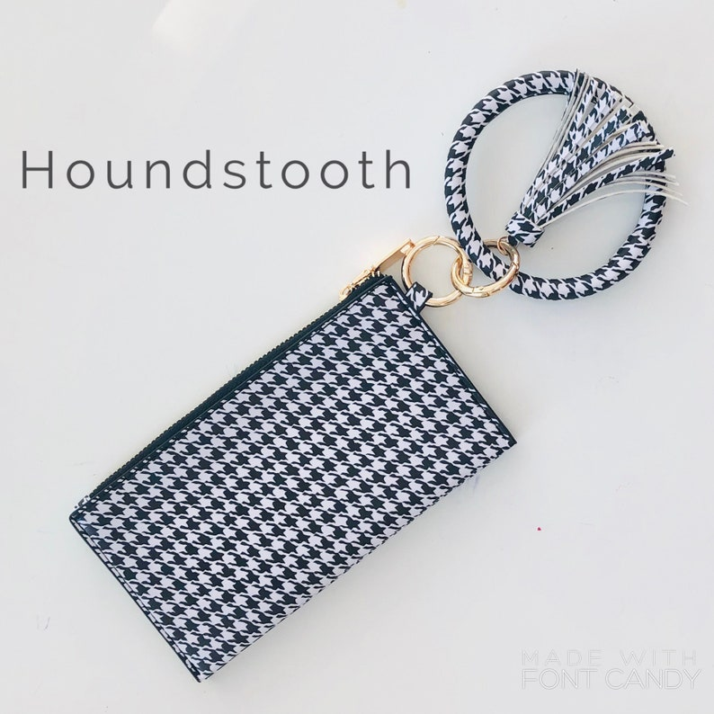 Houndstooth Keychain tassel bangle bracelet with clutch  Houndstooth
