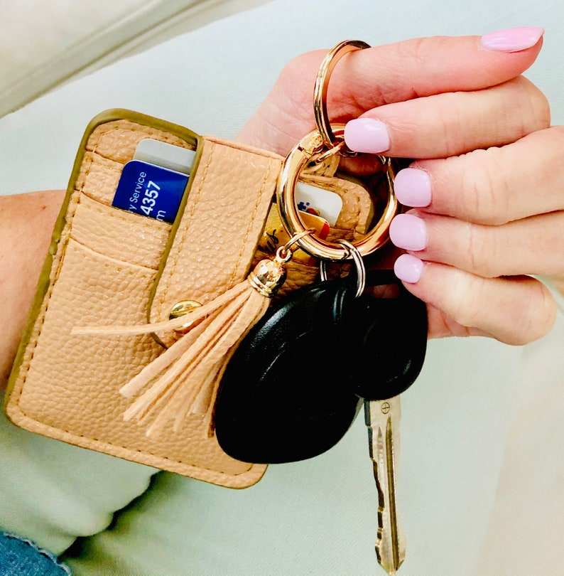 Credit Card Key Chain Wallet with Tassel  Key Fob  Vegan Champagne