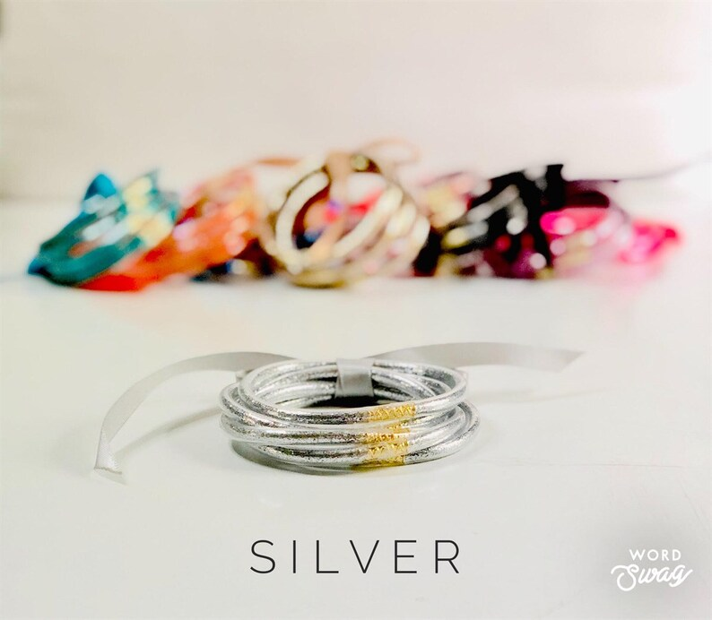 Stacked Glitter Jelly Bangle Set  Stacked Jelly Bracelets  5 image 0