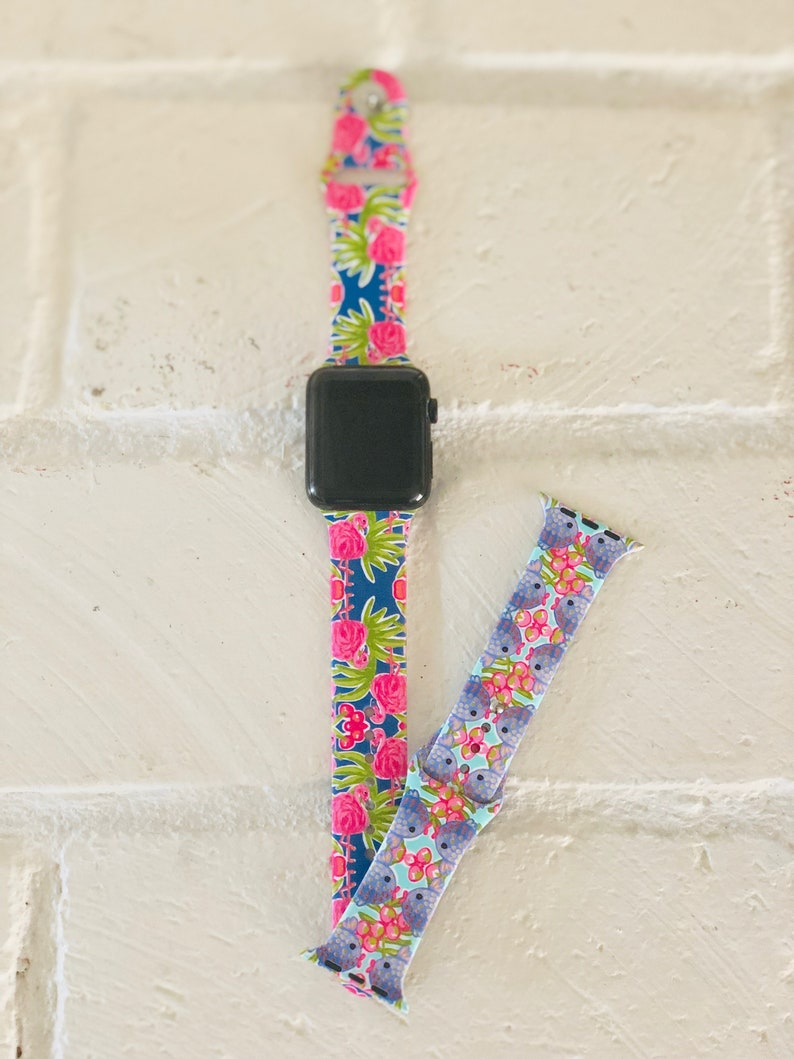 Printed Flamingo and Fish Apple Watch Band with Free Shipping image 0