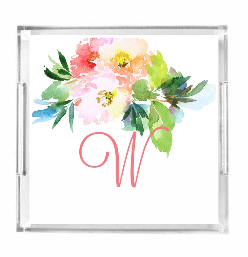 Personalized Watercolor Floral Lucite Tray Personalized image 0