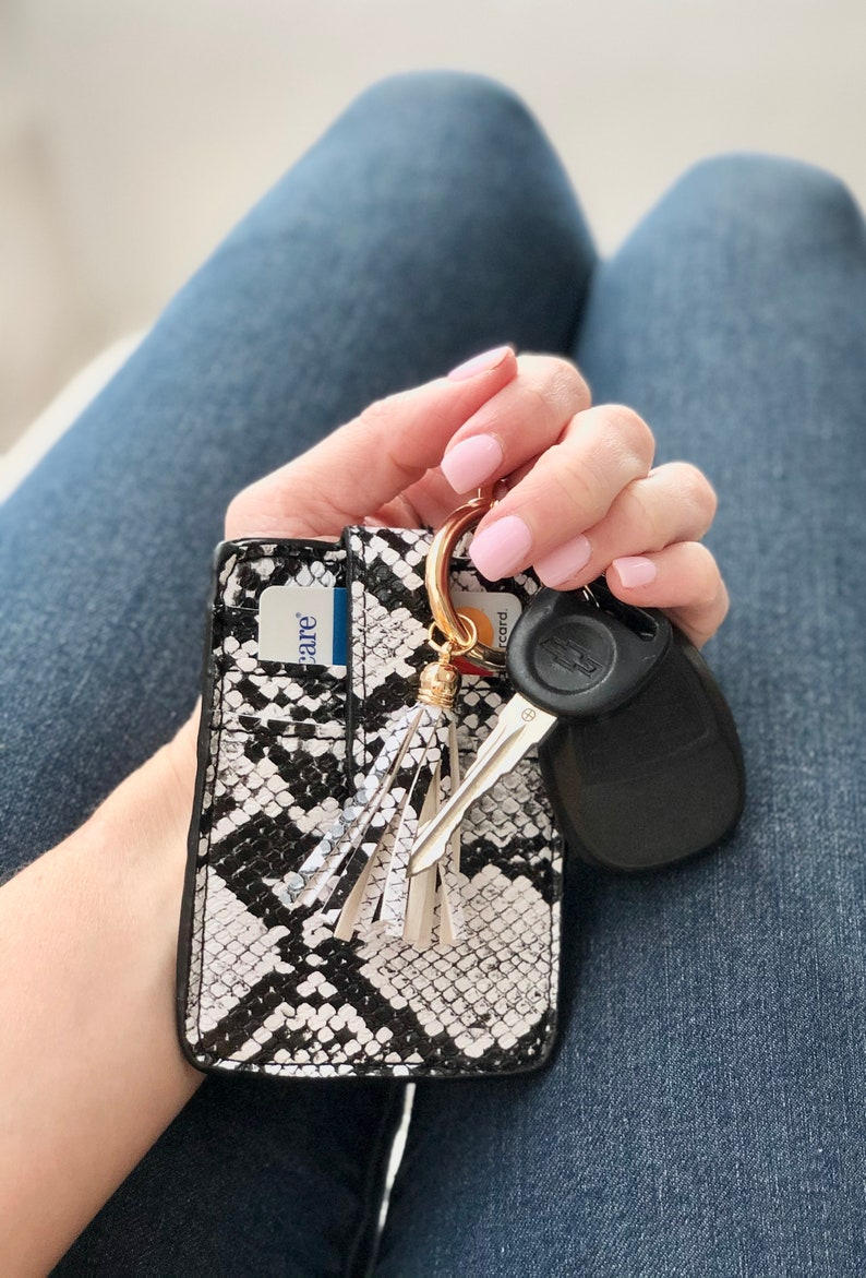 Credit Card Key Chain Wallet with Tassel  Key Fob  Vegan Black Snakeskin