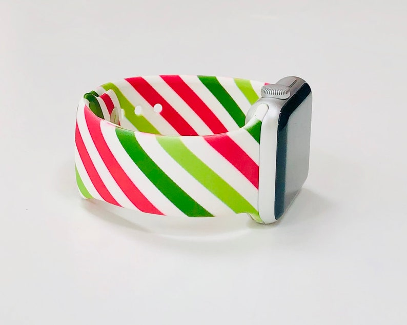 Red Green Stripe Printed Silicone Apple Watch Band with Free image 0