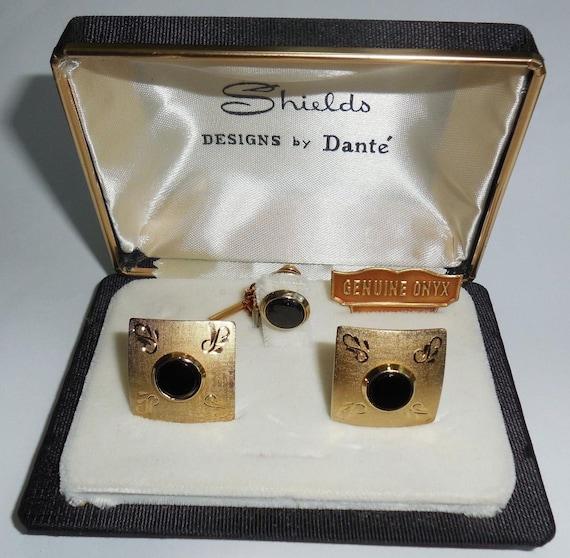 Sterling silver onyx chain link Cufflinks Tie Clip Box Set