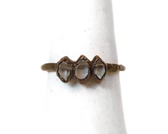 Herkimer Ring - Electroformed Herkimer - Copper Plated - Copper Ring - Crystal Ring - Diamond Ring - Electroformed Ring