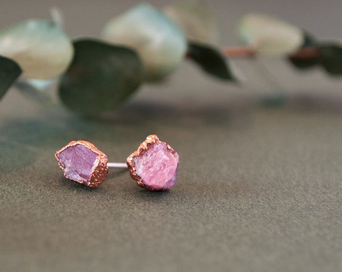 Electroformed Tourmaline Earrings - Copper Stone Earrings - Tourmaline Earrings - Pink Tourmaline - October Birthstone - Birthstone Jewelry