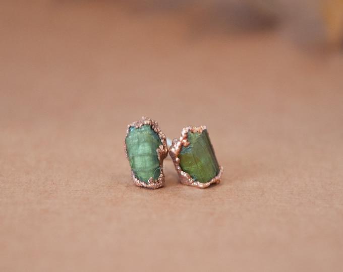 Tourmaline Earrings - October Birthstone - Copper Earrings - Stone Earrings - Green Stone Earrings -Green Tourmaline