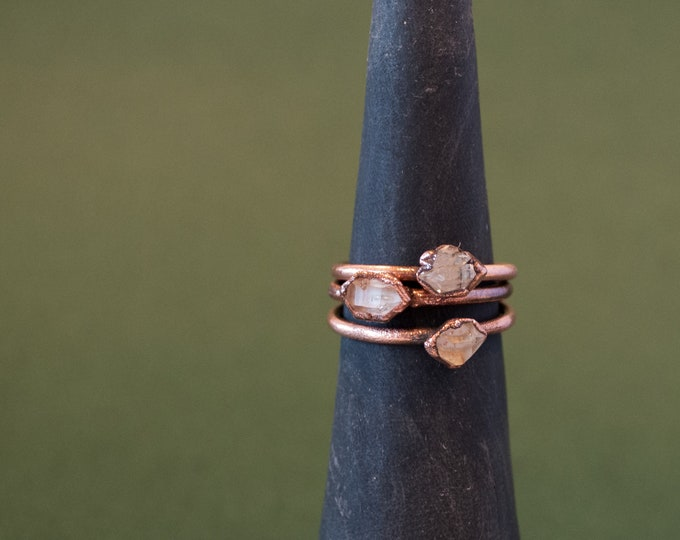 Herkimer Diamond Ring - Electroformed Ring - April Birthstone - Quartz Ring - Herkimer Jewelry - Copper Jewelry - Herkimer Diamond