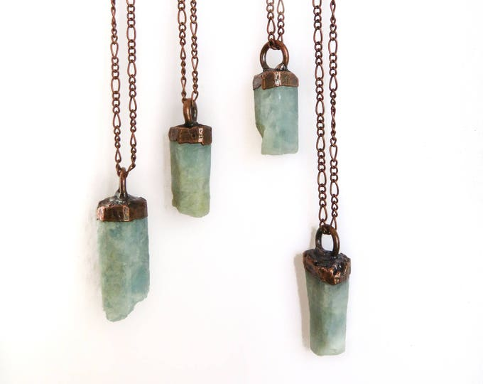 Aquamarine Necklace - March Birthstone - Crystal Necklace - Copper Stone Necklace - Electroformed Necklace - Aquamarine Jewelry