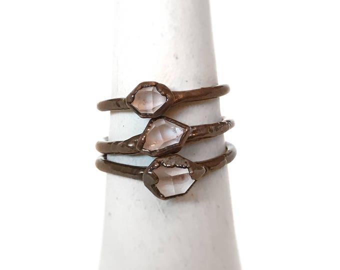 Herkimer Diamond Ring - Electroformed Ring - April Birthstone - Quartz Ring - Herkimer Jewelry - Copper Jewelry - Herkimer Diamond