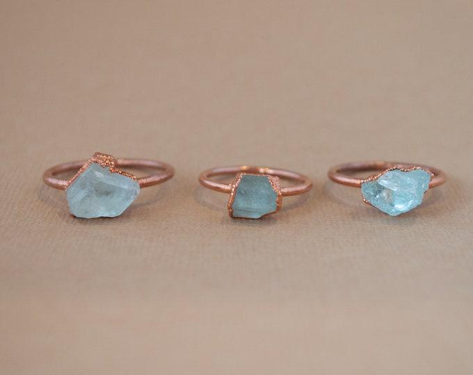 Aquamarine Ring - March Birthstone - Copper Ring - Stone Ring - Blue Stone Ring - Raw Aquamarine Ring