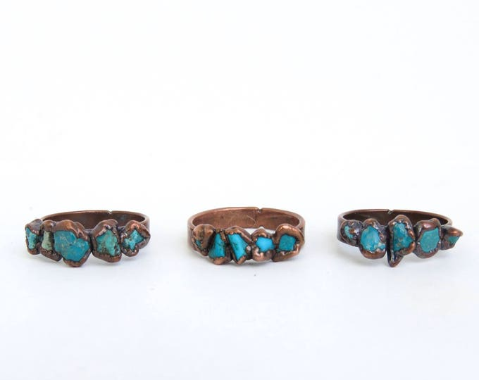 Copper Ring - Turquoise Ring - December Birthstone - Boho Ring - Copper Plated Ring - Electroformed Ring - Turquoise Stone Ring