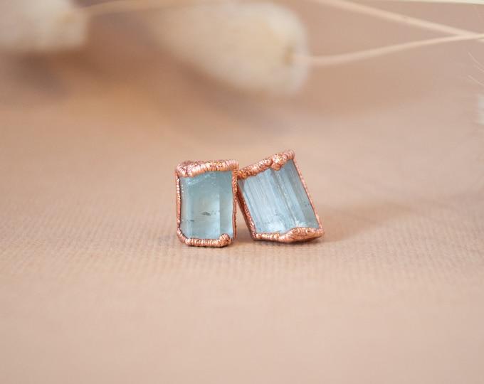 Aquamarine Earrings - March Birthstone - Copper Earrings - Stone Earrings - Blue Stone Earrings