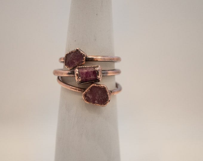 Made to Order - Raw Ruby Ring - July Birthstone - Boho Ring - Copper Ring - Electroformed Ring