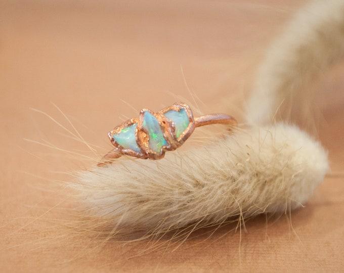 Raw opal ring - Rough opal ring - Rough opal jewelry - October Birthstone - Australian fire opal jewelry - Fire opal ring