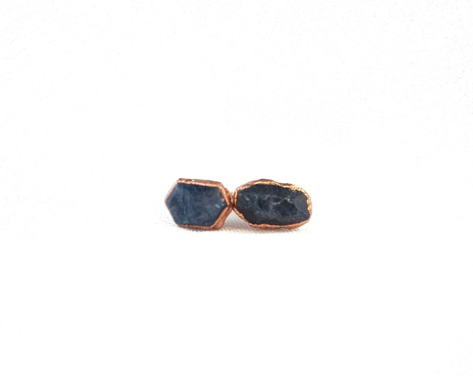 Sapphire Earrings - September Birthstone - Copper Earrings - Stone Earrings - Blue Stone Earrings
