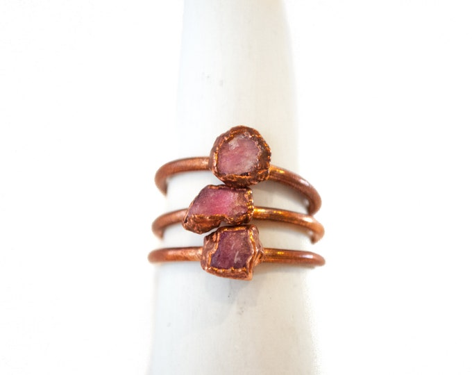 Pink Tourmaline Ring -  October Birthstone - Electroformed Tourmaline - Copper Ring - Crystal Ring - Copper Plated Ring - Electroformed Ring