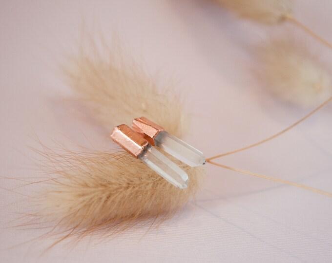 Crystal  Earrings - April Birthstone - Gemstone Earrings - Stone Earrings - Quartz Earrings - Copper Earrings - Statement Earrings