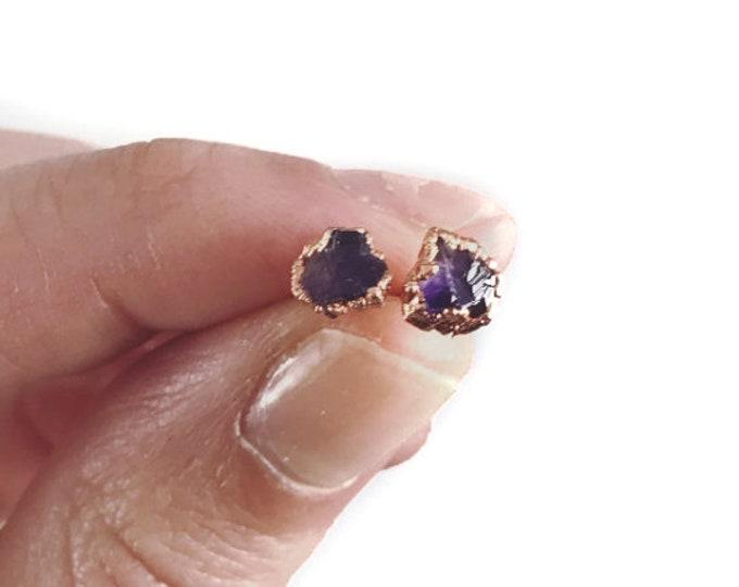 Amethyst Earrings - February Birthstone - Copper Earrings - Stone Earrings - Purple Stone Earrings