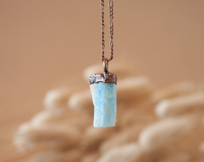 Aquamarine Necklace - March Birthstone - Crystal Necklace - Copper Stone Necklace - Electroformed Necklace - Aquamarine Jewelry