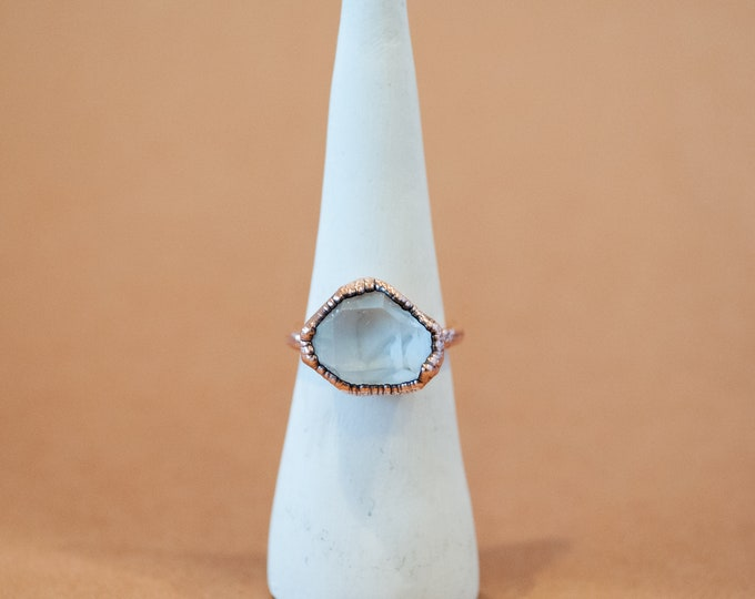 Tibetan Quartz Ring -  April Birthstone - Electroformed Quartz - Copper Ring - Crystal Ring - Copper Plated Ring - Electroformed Ring