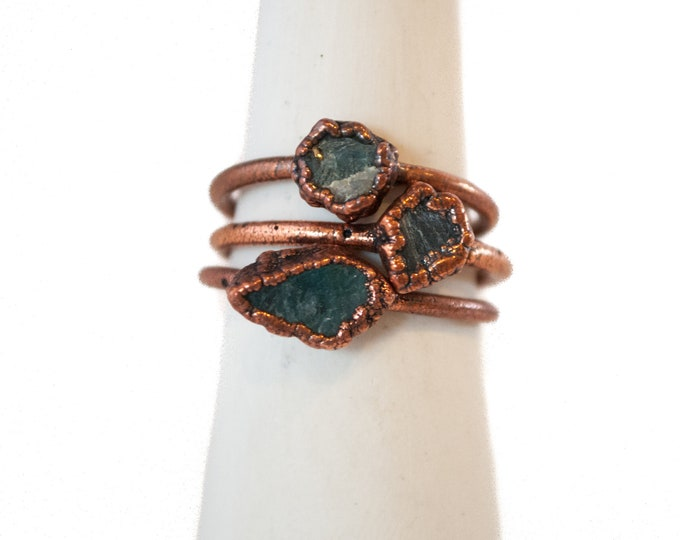 Grandidierite Ring - Copper Ring - Stone Ring - Blue Stone Ring