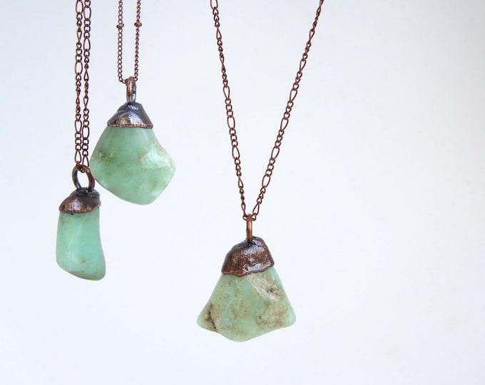 Chrysoprase Necklace - Stone Necklace - Crystal Necklace - Copper Stone Necklace - Electroformed Necklace