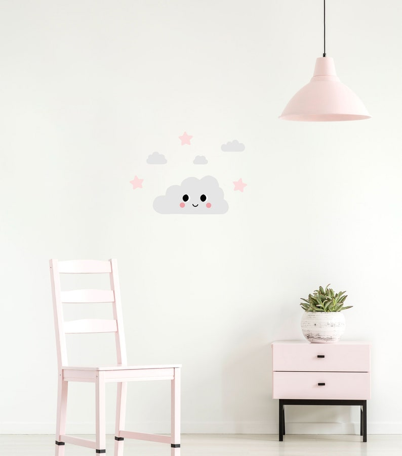pink dreamers happy grey cloud wall decal with clouds and | etsy