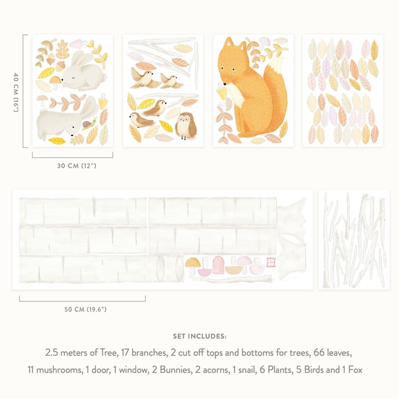 Plastic-free wall stickers for kids rooms Woodland Forest /& Animals Wall Decals