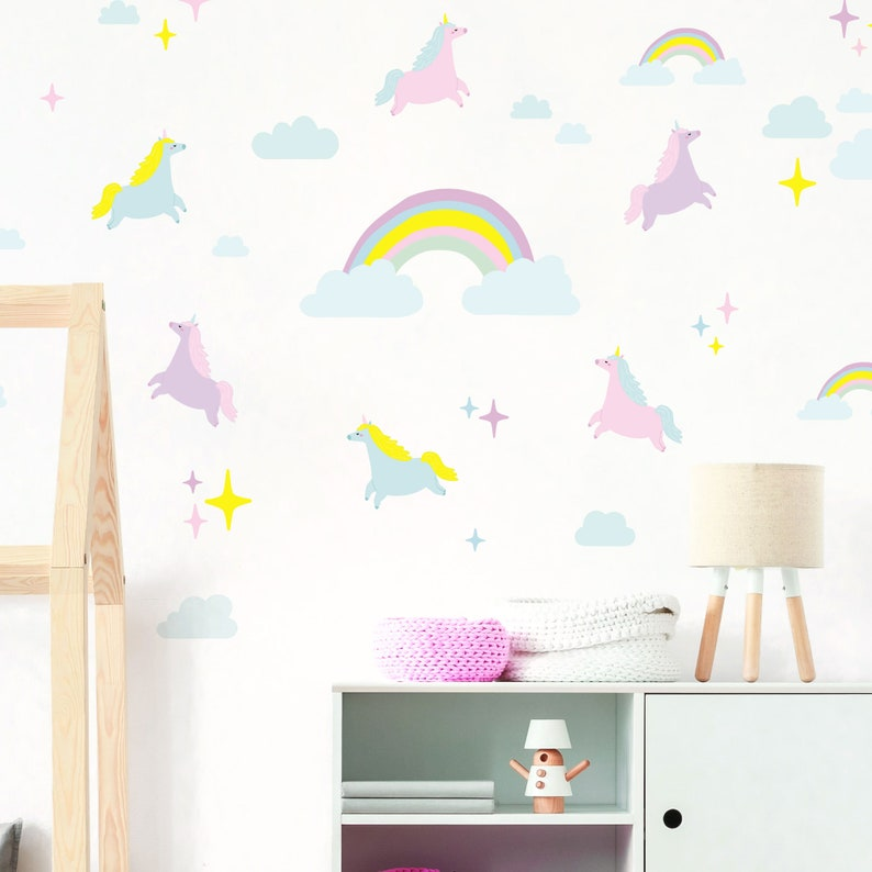unicorn rainbow and cloud wall decal bundle offer eco | etsy