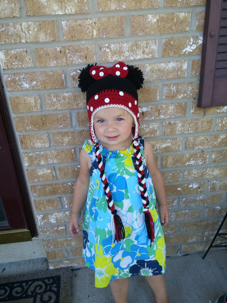 400bed619af Minnie Mouse Hat with Pom Pom Ears Ear Flaps and Braids