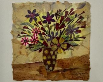 SPRING FLOWER-dried flower collage