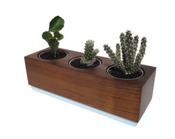 Featured listing image: Succulent planter - Poplar Handmade Planter - Ocean blue with a natural finish, for birthday and wedding, wood planter.